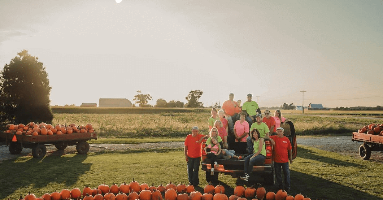 Keil's Produce and Greenhouse staff photo, with fall pumpkins available for $2 each at Keil's Produce and Greenhouse, west of Toledo in Swanton, Ohio.
