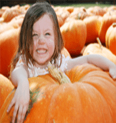 Little girl with giant, prize winning pumpkin from Keil's Produce & Greenhouse in Swanton, Ohio